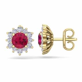 1 1/2 Carat Round Shape Flower Ruby and Diamond Halo Stud Earrings In 14 Karat Yellow Gold