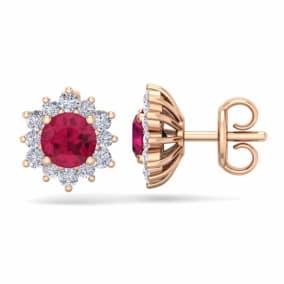 1 1/2 Carat Round Shape Flower Ruby and Diamond Halo Stud Earrings In 14 Karat Rose Gold