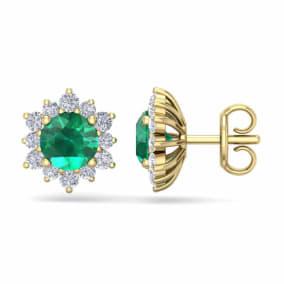 2 Carat Round Shape Flower Emerald and Diamond Halo Stud Earrings In 14 Karat Yellow Gold