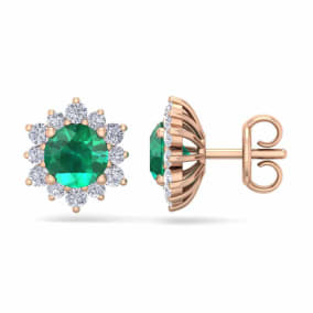 2 Carat Round Shape Flower Emerald and Diamond Halo Stud Earrings In 14 Karat Rose Gold