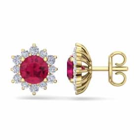 2 Carat Round Shape Flower Ruby and Diamond Halo Stud Earrings In 14 Karat Yellow Gold