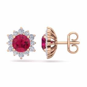 2 Carat Round Shape Flower Ruby and Diamond Halo Stud Earrings In 14 Karat Rose Gold