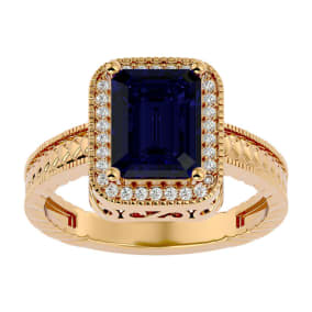 2 1/2 Carat Antique Style Sapphire and Diamond Ring in 14 Karat Yellow Gold