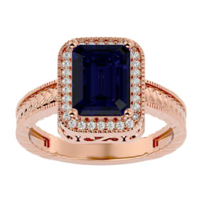2 1/2 Carat Antique Style Sapphire and Diamond Ring in 14 Karat Rose Gold