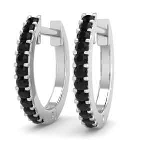 1/8 Carat Black Diamond Mens Hoop Earrings In 14 Karat White Gold