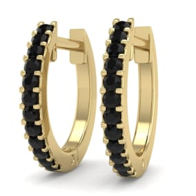 1/8 Carat Black Diamond Mens Hoop Earrings In 14 Karat Yellow Gold