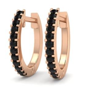 1/8 Carat Black Diamond Mens Hoop Earrings In 14 Karat Rose Gold