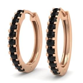 1/5 Carat Black Diamond Mens Hoop Earrings In 14 Karat Rose Gold