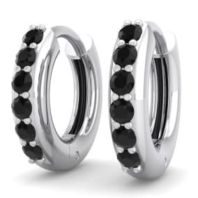 1/4 Carat Black Diamond Mens Hoop Earrings In 14 Karat White Gold