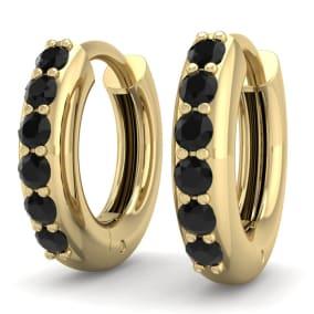 1/4 Carat Black Diamond Mens Hoop Earrings In 14 Karat Yellow Gold