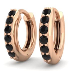 1/4 Carat Black Diamond Mens Hoop Earrings In 14 Karat Rose Gold