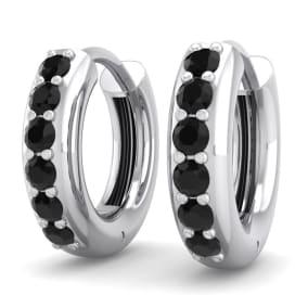 1/3 Carat Black Diamond Mens Hoop Earrings In 14 Karat White Gold