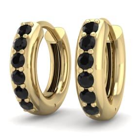 1/3 Carat Black Diamond Mens Hoop Earrings In 14 Karat Yellow Gold