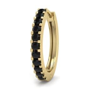 1/10 Carat Black Diamond Single Mens Hoop Earring In 14 Karat Yellow Gold