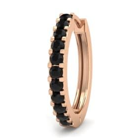 1/10 Carat Black Diamond Single Mens Hoop Earring In 14 Karat Rose Gold