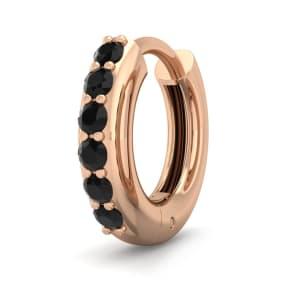 1/8 Carat Black Diamond Single Mens Hoop Earring In 14 Karat Rose Gold