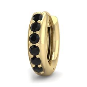 1/6 Carat Black Diamond Single Mens Hoop Earring In 14 Karat Yellow Gold