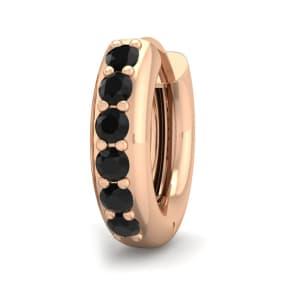 1/6 Carat Black Diamond Single Mens Hoop Earring In 14 Karat Rose Gold