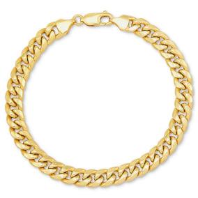 14 Karat Yellow Gold 7.3mm Miami Cuban Chain Bracelet, 8 1/2 Inches