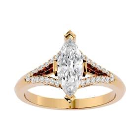 1 1/4 Carat Marquise Shape Diamond Engagement Ring In 14 Karat Yellow Gold