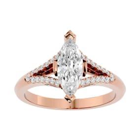 1 1/4 Carat Marquise Shape Diamond Engagement Ring In 14 Karat Rose Gold