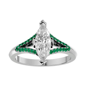 1 1/4 Carat Marquise Shape Diamond and Emerald Engagement Ring In 14 Karat White Gold