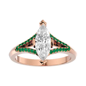 1 1/4 Carat Marquise Shape Diamond and Emerald Engagement Ring In 14 Karat Rose Gold
