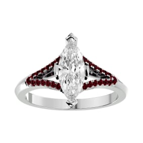 1 1/4 Carat Marquise Shape Diamond and Ruby Engagement Ring In 14 Karat White Gold