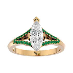 1 1/4 Carat Marquise Shape Diamond and Emerald Engagement Ring In 14 Karat Yellow Gold