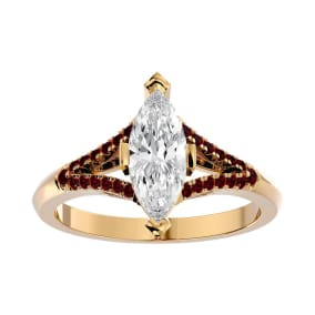 1 1/4 Carat Marquise Shape Diamond and Ruby Engagement Ring In 14 Karat Yellow Gold
