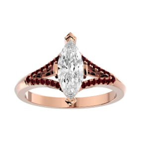 1 1/4 Carat Marquise Shape Diamond and Ruby Engagement Ring In 14 Karat Rose Gold