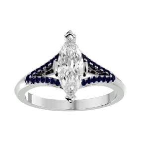 1 1/4 Carat Marquise Shape Diamond and Sapphire Engagement Ring In 14 Karat White Gold