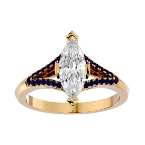 1 1/4 Carat Marquise Shape Diamond and Sapphire Engagement Ring In 14 Karat Yellow Gold