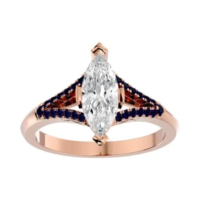 1 1/4 Carat Marquise Shape Diamond and Sapphire Engagement Ring In 14 Karat Rose Gold