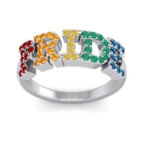 1/2 Carat Rainbow Pride Gemstone Ring In 14 Karat White Gold
