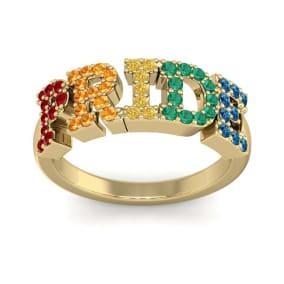 1/2 Carat Rainbow Pride Gemstone Ring In 14 Karat Yellow Gold