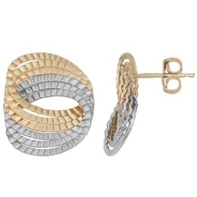 10 Karat Two Tone Gold Fancy Twist Stud Earrings