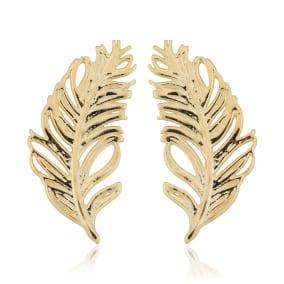 10 Karat Yellow Gold Feather Stud Earrings
