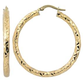 10 Karat Yellow Gold 30x3mm Diamond Cut Hoop Earrings