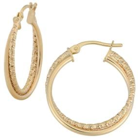 10 Karat Yellow Gold 20x2mm Diamond Cut Double Hoop Earrings