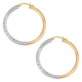 10 Karat Two Tone Gold 30x3mm Diamond Cut Hoop Earrings