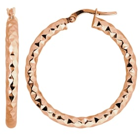 10 Karat Rose Gold 25x3mm Diamond Cut Hoop Earrings
