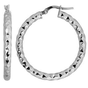 10 Karat White Gold 25x3mm Diamond Cut Hoop Earrings