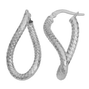10 Karat White Gold 25x3mm Oval Twist Hoop Earrings