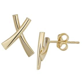 14 Karat Yellow Gold X Stud Earrings