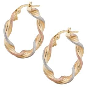 14 Karat Tri Tone Gold 15x3.5mm Satin Twist Hoop Earrings