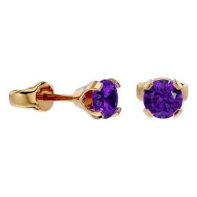 1/2 Carat Amethyst Stud Earrings in Yellow Gold