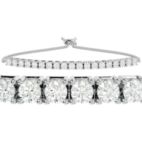 4 Carat Diamond Bolo Tennis Bracelet In 14 Karat White Gold, Adjustable 6-9 inches