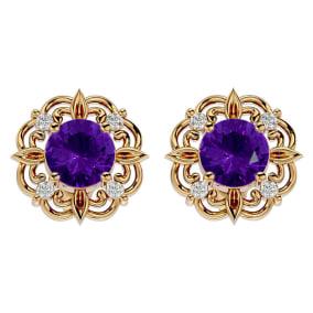 1 1/2 Carat Amethyst and Diamond Antique Stud Earrings In 14 Karat Yellow Gold