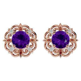 1 1/2 Carat Amethyst and Diamond Antique Stud Earrings In 14 Karat Rose Gold